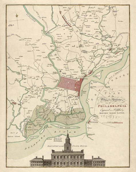 Vintage Map Drawing - Antique Map Of Philadelphia By Matthaus Albrecht Lotter - 1777 by Blue Monocle