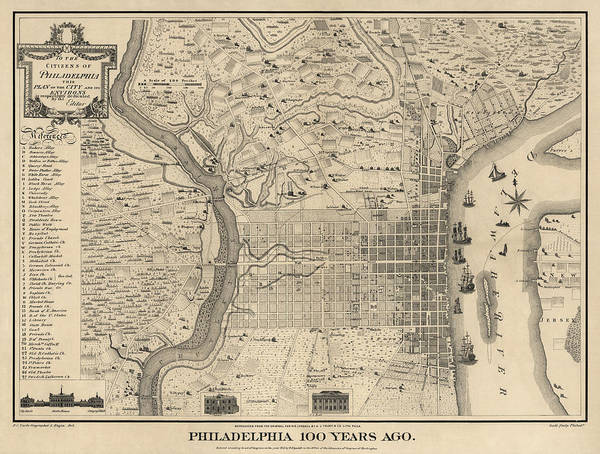 Wall Art - Drawing - Antique Map Of Philadelphia By P. C. Varte - 1875 by Blue Monocle