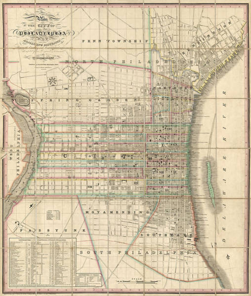 Wall Art - Drawing - Antique Map Of Philadelphia By William Allen - 1830 by Blue Monocle