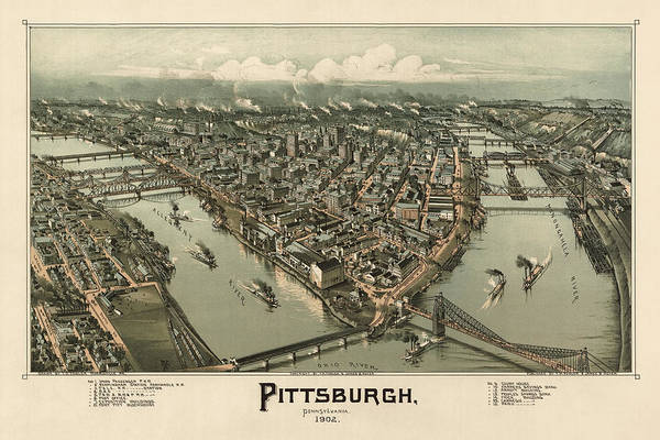 Old Blue Eyes Wall Art - Drawing - Antique Map Of Pittsburgh Pennsylvania By T. M. Fowler - 1902 by Blue Monocle