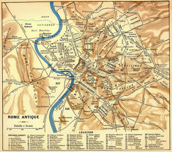 Collectible Art Drawing - Antique Map Of Rome During Antiquity 1870 by Mountain Dreams