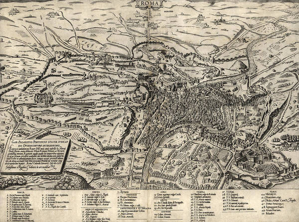 Italy Drawing - Antique Map Of Rome Italy By Sebastianus Clodiensis - 1561 by Blue Monocle