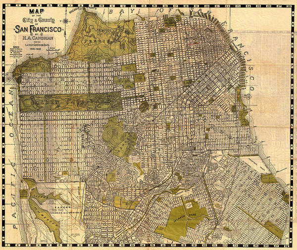 Collectible Art Drawing - Antique Map Of San Francisco 1932 by Mountain Dreams