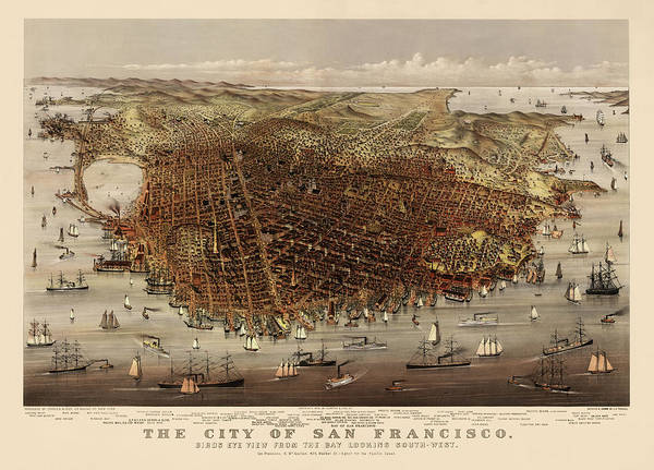 Old Blue Eyes Wall Art - Drawing - Antique Map Of San Francisco By Currier And Ives - Circa 1878 by Blue Monocle