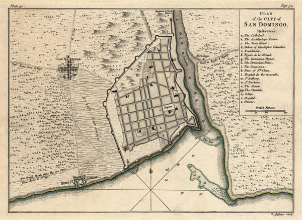 Santos Wall Art - Drawing - Antique Map Of Santo Domingo Dominican Republic By Thomas Jefferys - 1768 by Blue Monocle