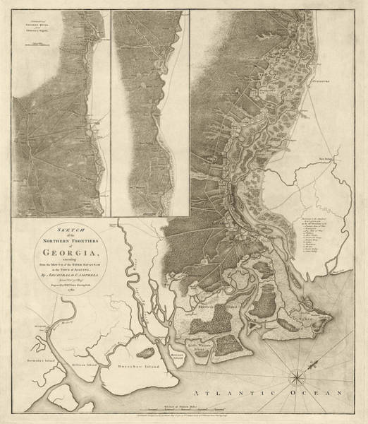 River Drawing - Antique Map Of Savannah Georgia By Archibald Campbell - 1780 by Blue Monocle