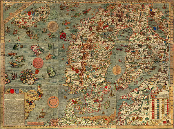Collectible Art Drawing - Antique Map Of Scandinavia 1539 by Mountain Dreams