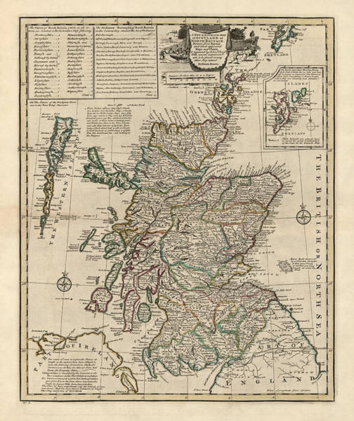 Great Britain Drawing - Antique Map Of Scotland By Emanuel Bowen - 1752 by Blue Monocle