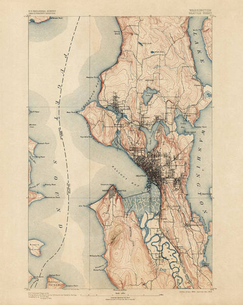 Geological Wall Art - Drawing - Antique Map Of Seattle - Usgs Topographic Map - 1894 by Blue Monocle