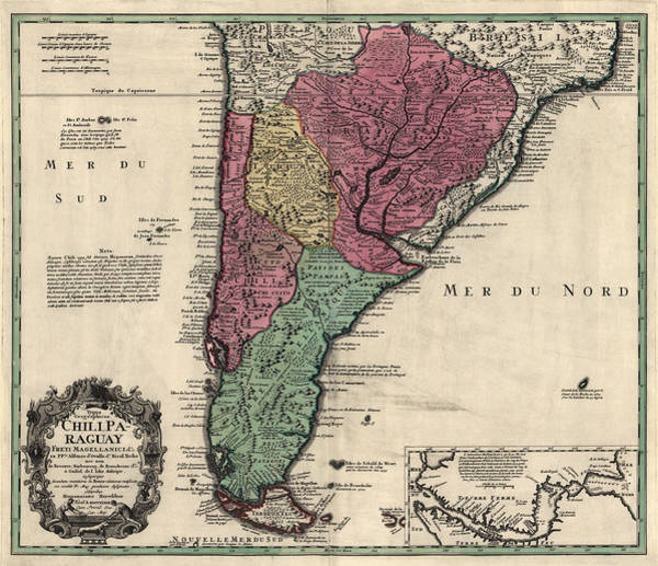 South Drawing - Antique Map Of South America By Alonso De Ovalle - 1733 by Blue Monocle