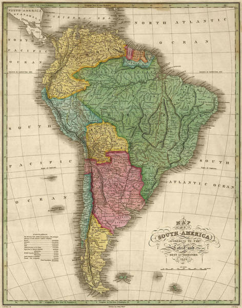 South Drawing - Antique Map Of South America By Anthony Finley - 1826 by Blue Monocle