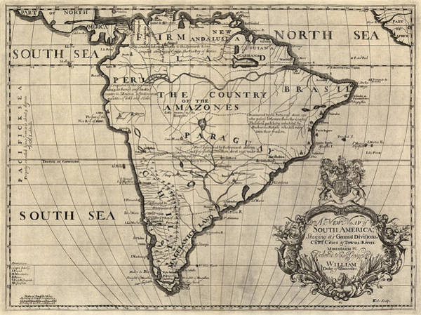 South Drawing - Antique Map Of South America By Edward Wells - Circa 1700 by Blue Monocle