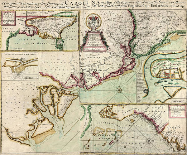 South Drawing - Antique Map Of South Carolina By Edward Crisp - Circa 1711 by Blue Monocle