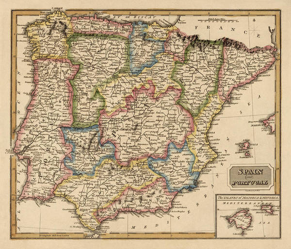 Wall Art - Drawing - Antique Map Of Spain And Portugal By Fielding Lucas - Circa 1817 by Blue Monocle