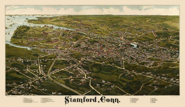 Stamford Wall Art - Drawing - Antique Map Of Stamford Connecticut By L. R. Burleigh - 1883 by Blue Monocle