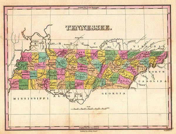 Collectible Art Drawing - Antique Map Of Tennessee 1827 by Mountain Dreams