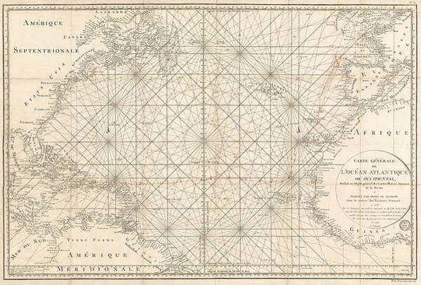 Ocean Drawing - Antique Map Of The Atlantic Ocean - 1792 by Blue Monocle