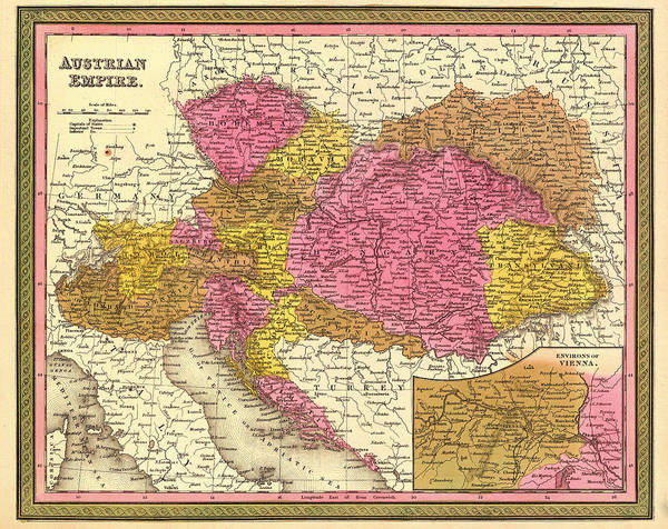 Physical Features Drawing - Antique Map Of The Austrian Empire 1850 by Mountain Dreams