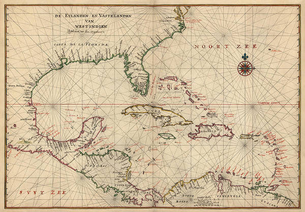 Old West Drawing - Antique Map Of The Caribbean And Central America By Joan Vinckeboons - Circa 1639 by Blue Monocle