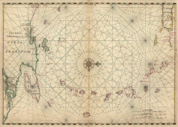 Wall Art - Drawing - Antique Map Of The Caribbean By Joan Vinckeboons - Circa 1650 by Blue Monocle