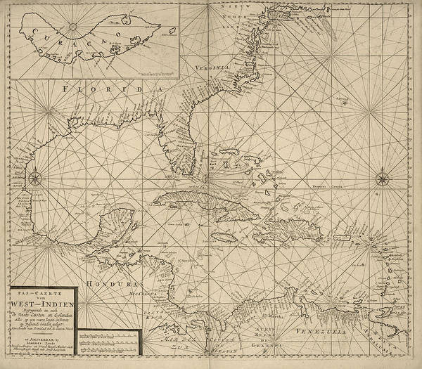 Old West Drawing - Antique Map Of The Caribbean By Johannes Loots - Circa 1705 by Blue Monocle