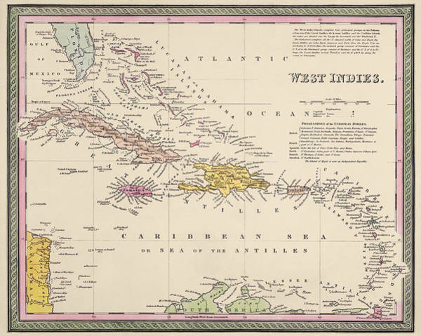 Old West Drawing - Antique Map Of The Caribbean By Samuel Augustus Mitchell - 1849 by Blue Monocle