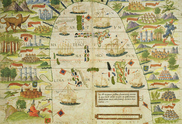 Territory Painting - Antique Map Of The China Sea by Pedro Reinel