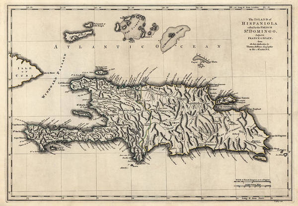 Turks And Caicos Islands Wall Art - Drawing - Antique Map Of The Dominican Republic And Haiti By Thomas Jefferys - 1768 by Blue Monocle