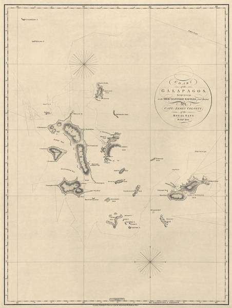 Ecuador Wall Art - Drawing - Antique Map Of The Galapagos Islands By James Colnett - 1798 by Blue Monocle