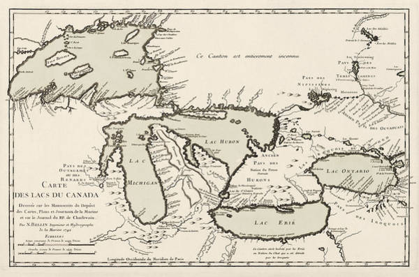 Antique Map Of The Great Lakes By Jacques Nicolas Bellin - 1742 Art Print