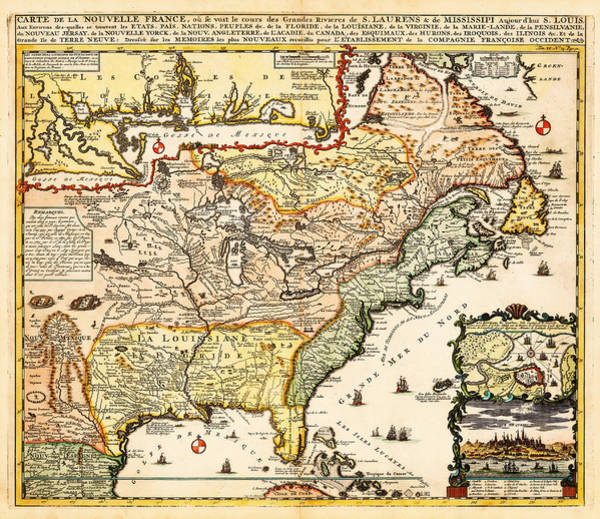 Wall Art - Painting - Antique Map Of The Harbor Of St Louis Mississippi River by Celestial Images