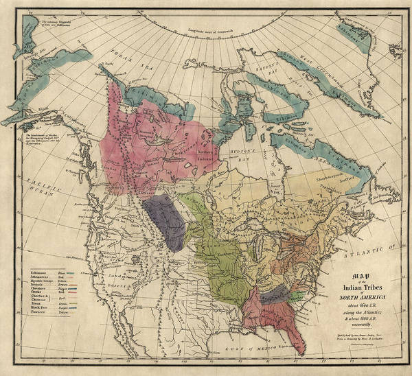 Flag Drawing - Antique Map Of The Indian Tribes Of North America By Albert Gallatin - 1836 by Blue Monocle