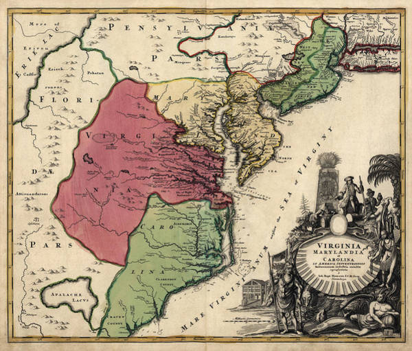 Atlantic Drawing - Antique Map Of The Middle American Colonies By Johann Baptist Homann - Circa 1759 by Blue Monocle