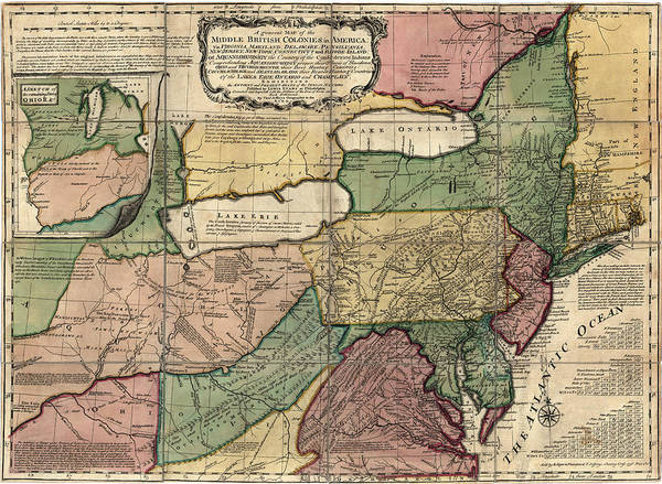 Atlantic Drawing - Antique Map Of The Middle American Colonies By Thomas Jefferys - 1758 by Blue Monocle