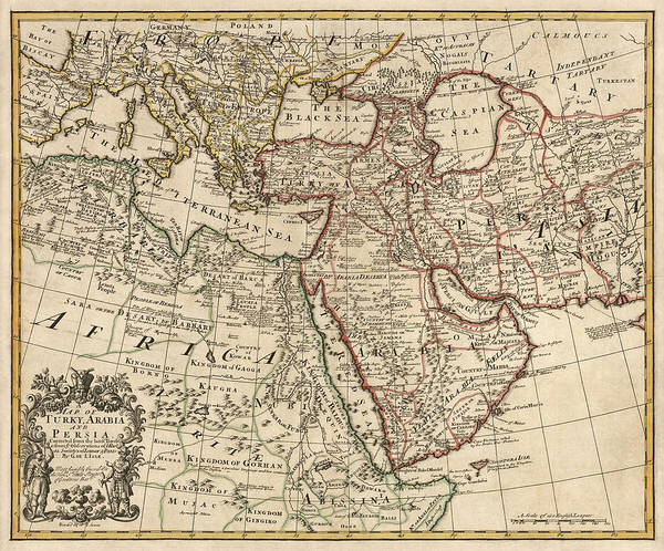 Middle Drawing - Antique Map Of The Middle East By Guillaume Delisle - 1721 by Blue Monocle