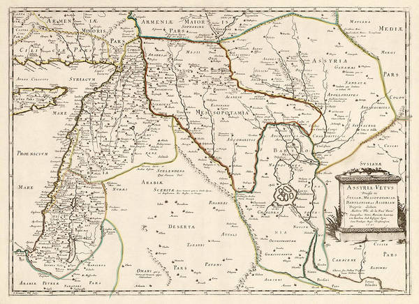 Middle Drawing - Antique Map Of The Middle East By Philippe De La Rue - 1651 by Blue Monocle