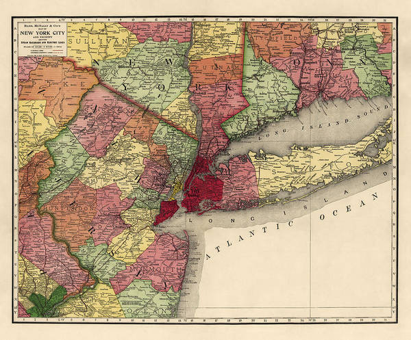 New York City Map Drawing - Antique Map Of The New York City Region By Rand Mcnally And Company - 1908 by Blue Monocle