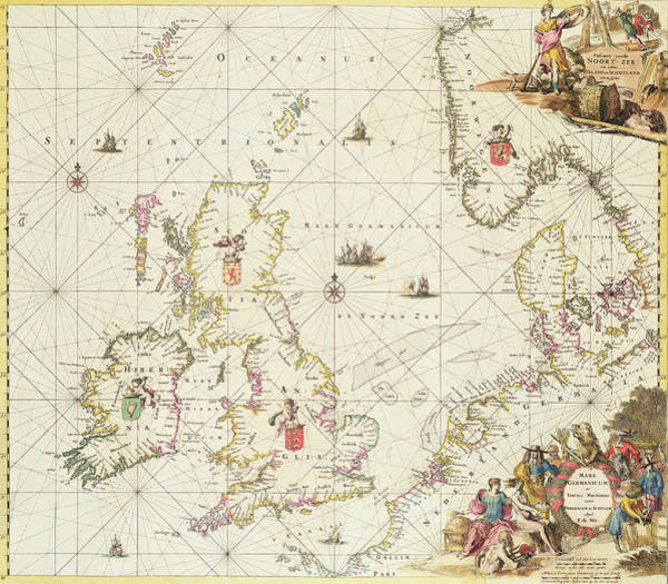 England Drawing - Antique Map Of The North Sea by Frederick de Wit