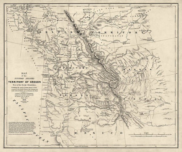 Old West Drawing - Antique Map Of The Pacific Northwest By Washington Hood - 1838 by Blue Monocle