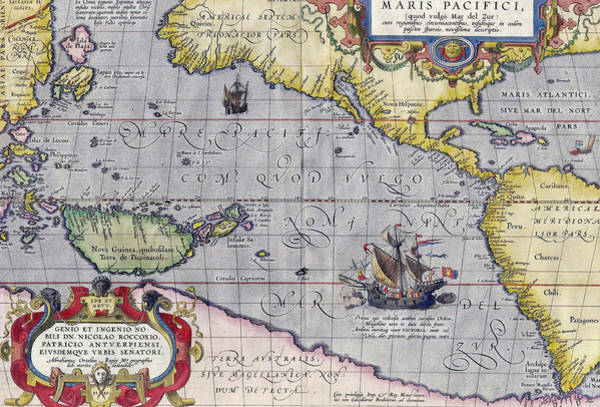 Mapping Drawing - Antique Map Of The Pacific Ocean by Ortelius