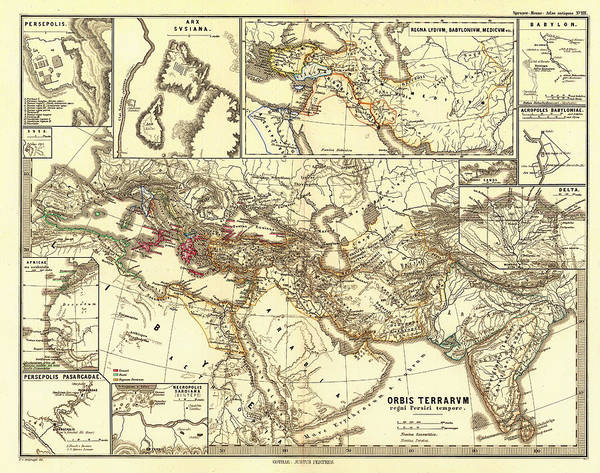Collectible Art Drawing - Antique Map Of The Persian Empire by Mountain Dreams