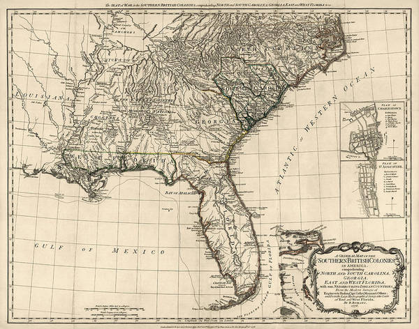 Us Drawing - Antique Map Of The Southeastern United States By Bernard Romans - 1776 by Blue Monocle