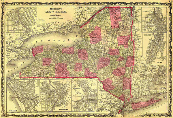 New York City Map Drawing - Antique Map Of The State Of New York 1862 by Mountain Dreams