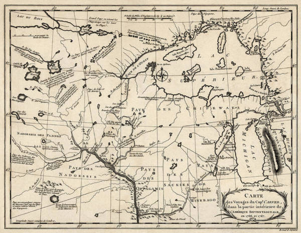 Minnesota Drawing - Antique Map Of The Upper Midwest Us  And Great Lakes By Benard - Circa 1768 by Blue Monocle