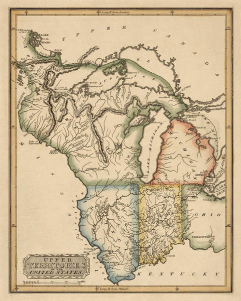 Minnesota Drawing - Antique Map Of The Upper Midwest Us By Fielding Lucas - Circa 1817 by Blue Monocle