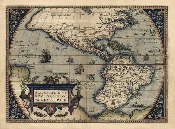Hemisphere Wall Art - Drawing - Antique Map Of The Western Hemisphere By Abraham Ortelius - 1570 by Blue Monocle