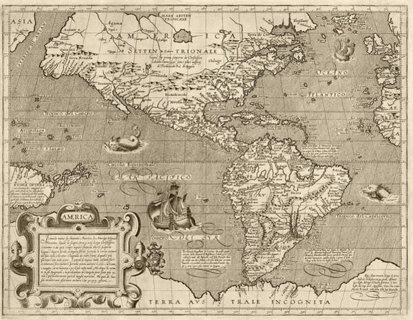 Hemisphere Wall Art - Drawing - Antique Map Of The Western Hemisphere By Arnoldo Di Arnoldi - Circa 1600 by Blue Monocle