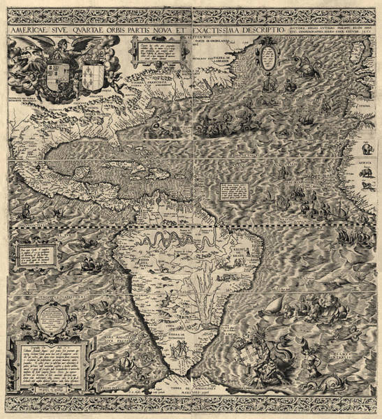 Hemisphere Wall Art - Drawing - Antique Map Of The Western Hemisphere By Diego Gutierrez - 1562 by Blue Monocle