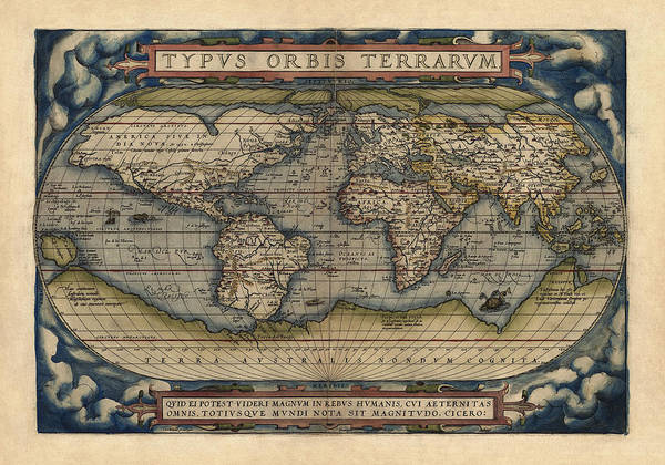 Print Drawing - Antique Map Of The World By Abraham Ortelius - 1570 by Blue Monocle