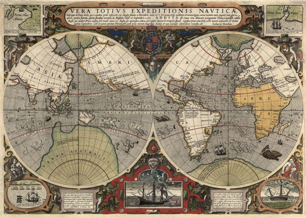 Print Drawing - Antique Map Of The World By Jodocus Hondius - Circa 1565 by Blue Monocle